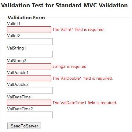 Simple MVC Application using standard Validation