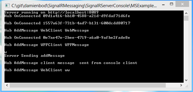 SignalR Messaging with console server and client, web client, WPF