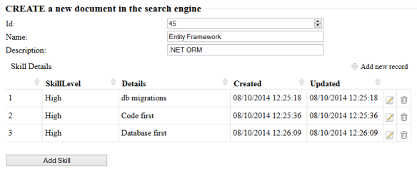 MVC CRUD with Elasticsearch NESTED documents | Software Engineering