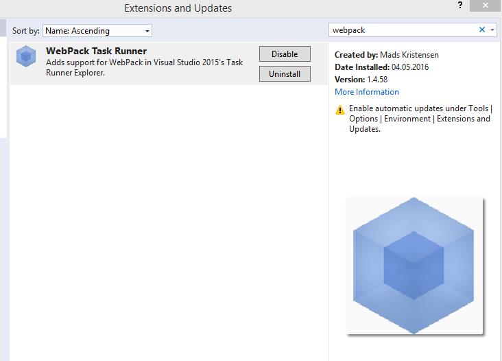 ASP NET Core, Angular with Webpack and Visual Studio