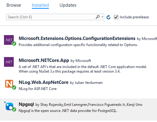 NET Core, ASP NET Core logging with NLog and PostgreSQL