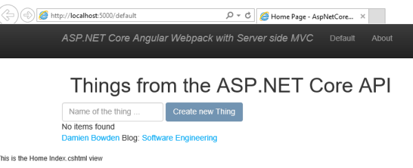 Using Angular in an ASP NET Core View with Webpack