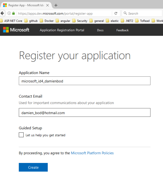 Adding an external Microsoft login to IdentityServer4