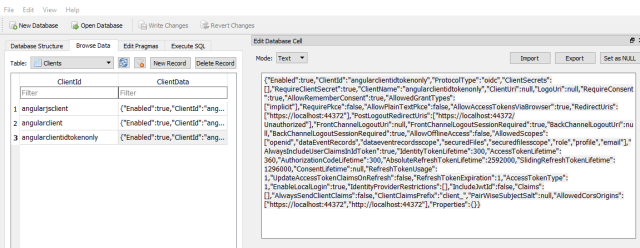 Using an EF Core database for the IdentityServer4