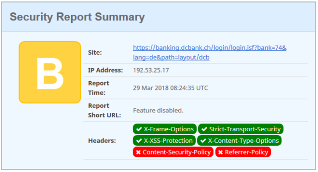 Comparing the HTTPS Security Headers of Swiss banks | Software