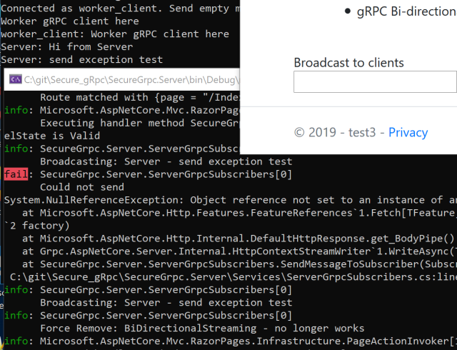 gRPC Bi-directional streaming with Razor Pages and a Hosted Service