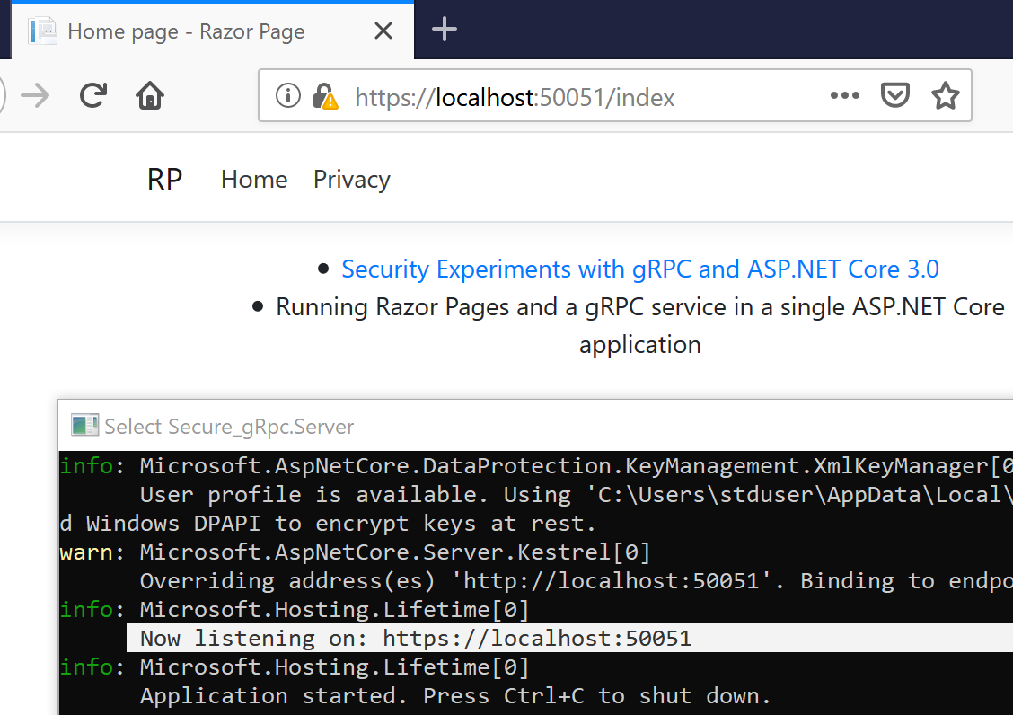Running Razor Pages and a gRPC service in a single ASP NET Core