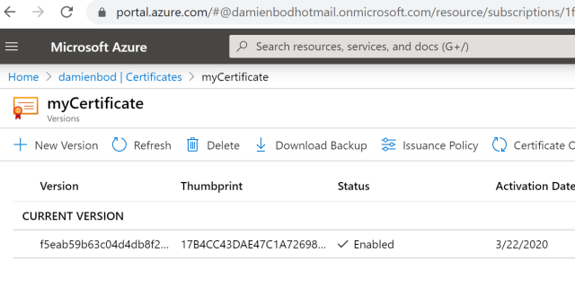 Using Certificates from Azure Key Vault in ASP.NET Core