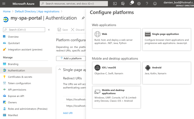 Angular SPA with an ASP.NET Core API using Azure AD Auth and user access tokens