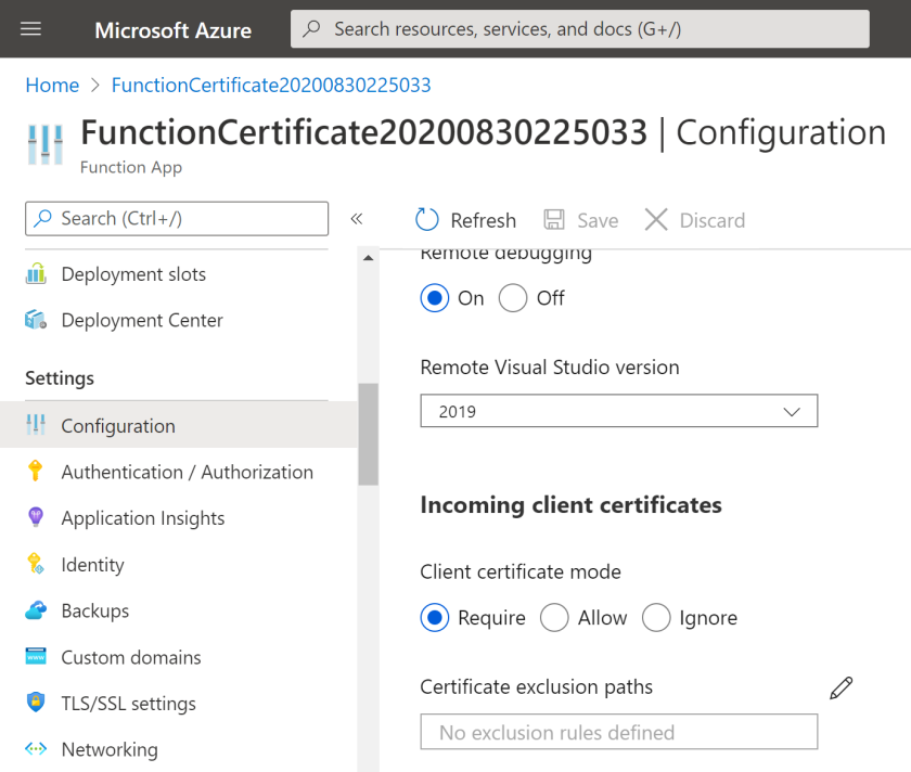 Securing Azure Functions using certificate authentication