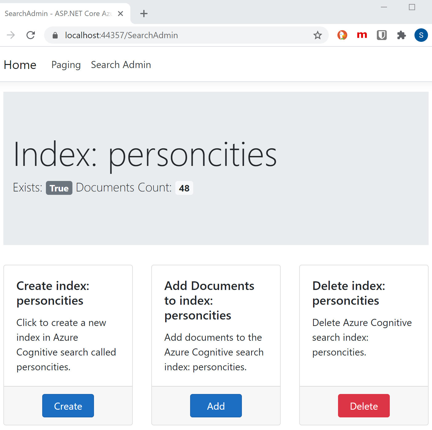 Implement a full text search using Azure Cognitive Search in ASP.NET Core